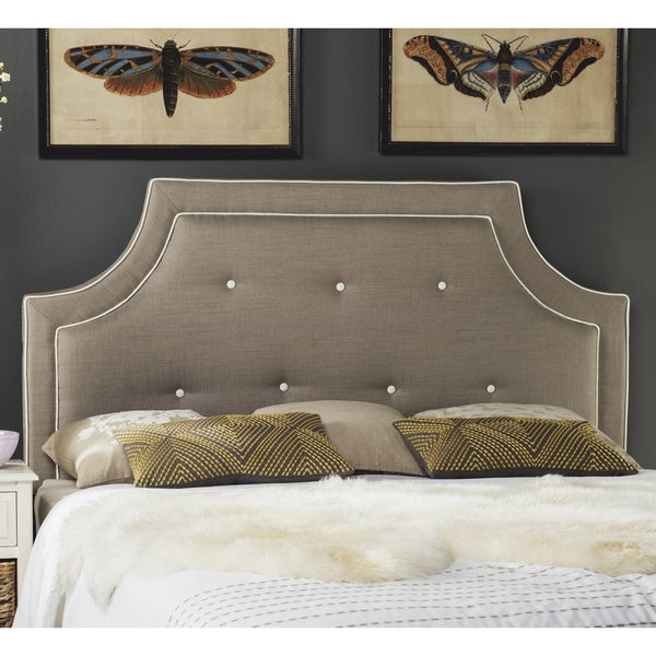Safavieh Tallulah Smoke/ White Piping Upholstered Arched Headboard (Queen). Opens flyout.