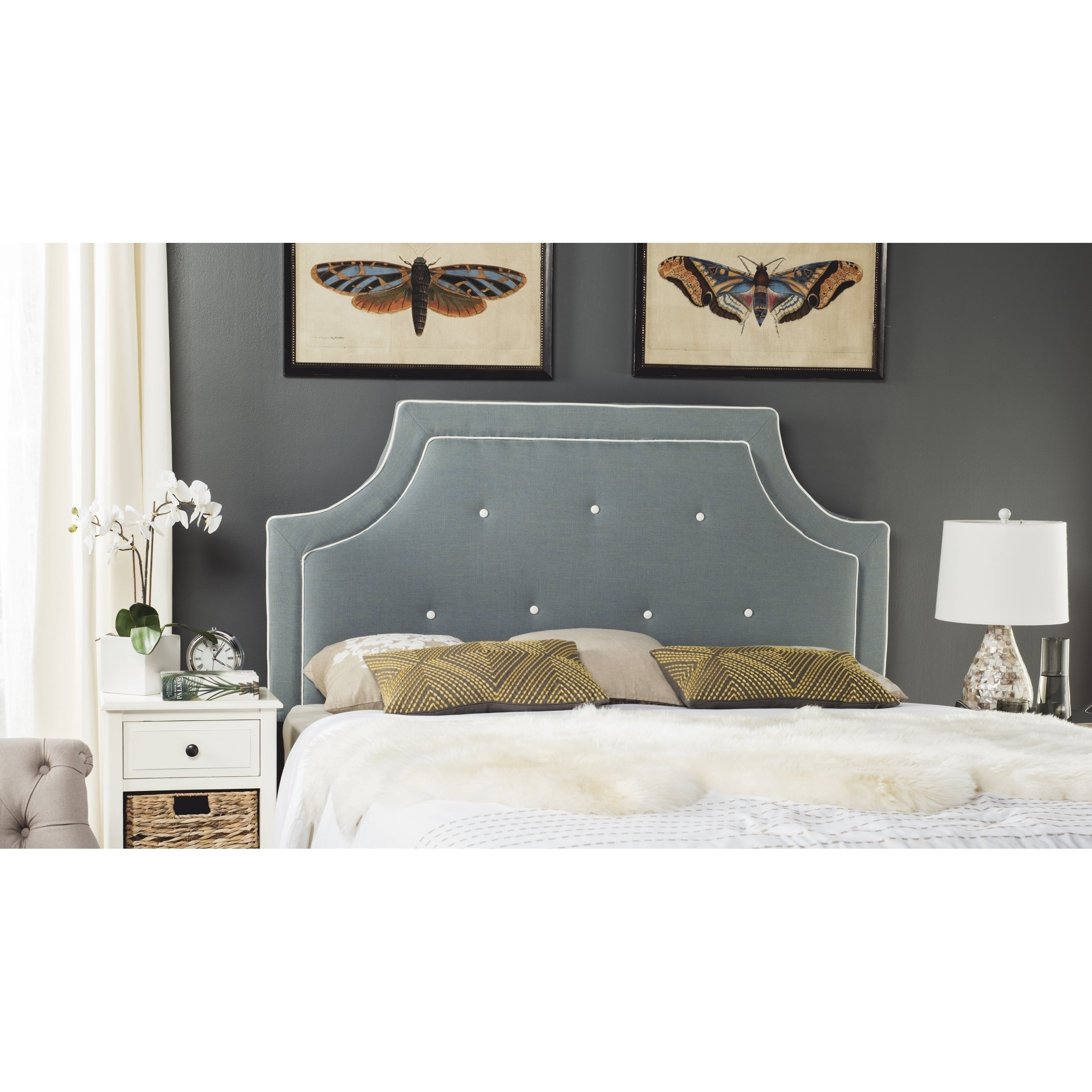 Safavieh Tallulah Sky Blue/ White Piping Upholstered Arch...
