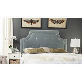 Safavieh Tallulah Sky Blue/ White Piping Upholstered Arched Headboard (Queen)