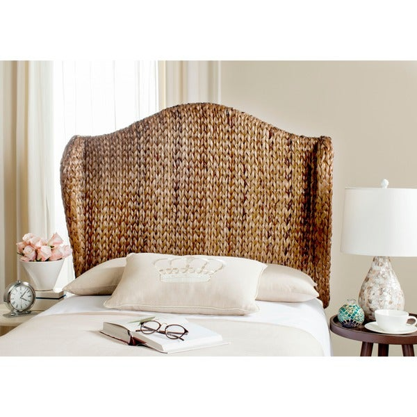 shop safavieh nadine brown woven wingback headboard twin on sale free shipping today. Black Bedroom Furniture Sets. Home Design Ideas