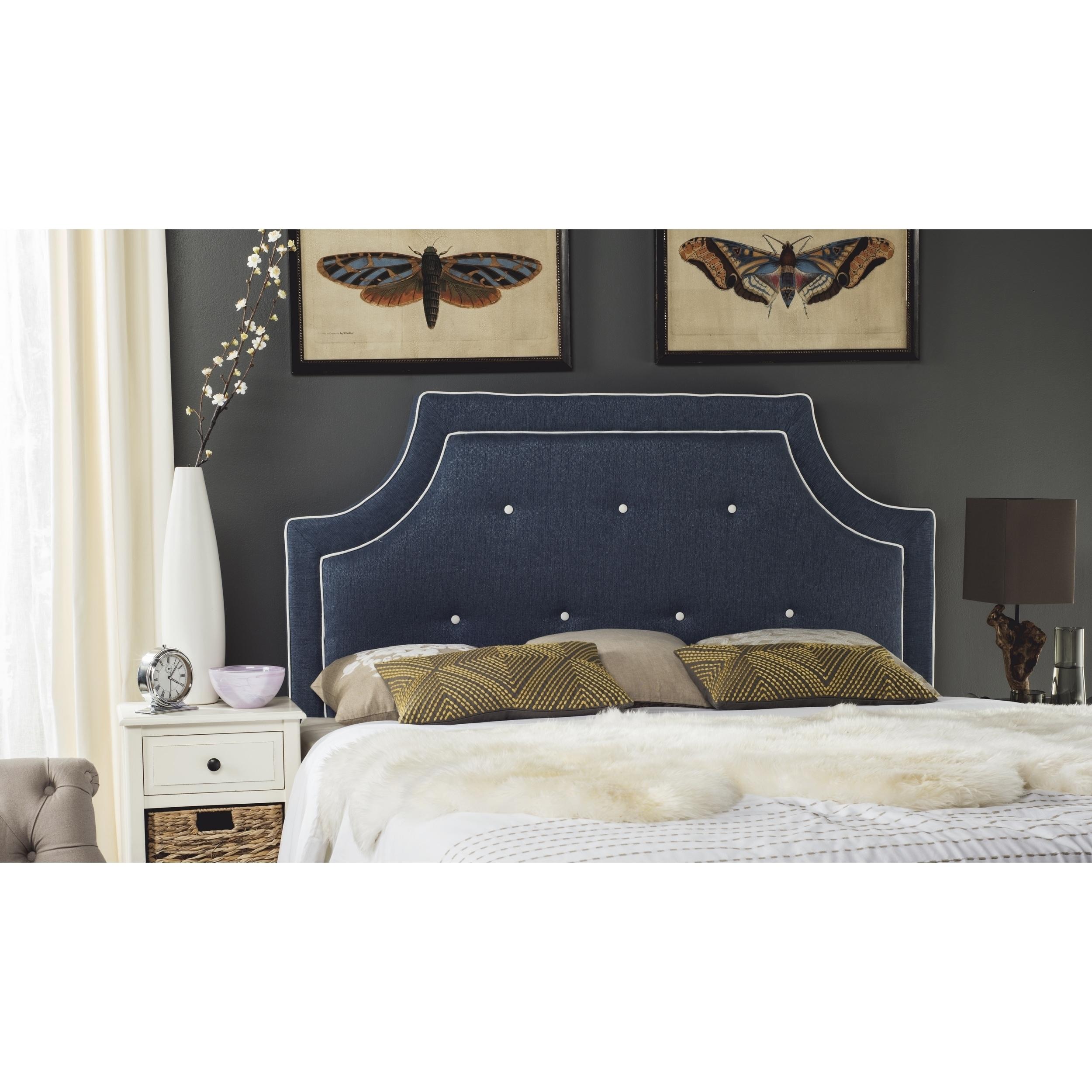Safavieh Tallulah Denim Blue/ White Piping Upholstered Ar...