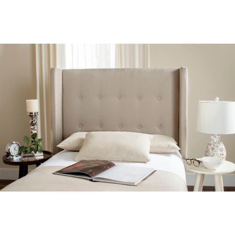 Safavieh Damon Oyster Upholstered Tufted Wingback Headboard (Twin)