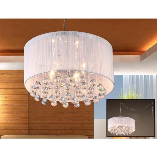 Mineya 5 Light White 17 Inch Chrome Swag Lamp