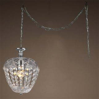 Miriam 1-light Crystal 8-inch Chrome Swag Lamp
