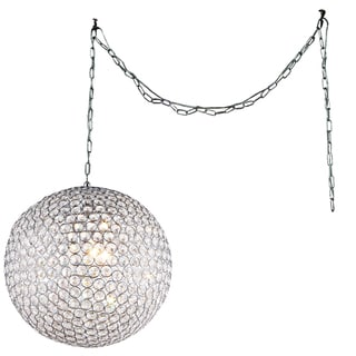 Jessie 3-light Crystal Round 12-inch Chrome Swag Lamp