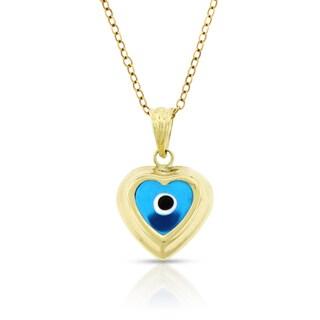14k Yellow Gold Blue Diamond Cut Heart Evil Eye Pendant Charm Necklace Chain