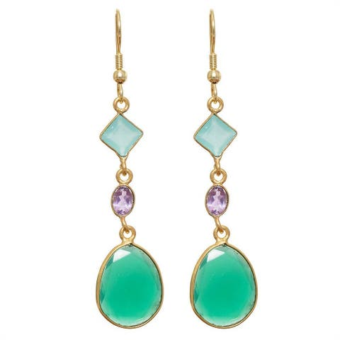 Handmade Gold Overlay Gemstone Earrings (India)