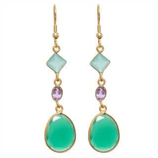 Link to Handmade Gold Overlay Gemstone Earrings (India) Similar Items in Earrings