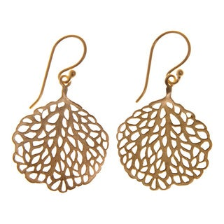 Handmade Gold-plated Sterling Silver Leaf Earrings (India)