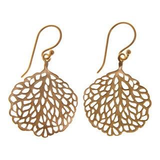 Handmade Goldoverlay Sterling Silver Leaf Earrings (India)