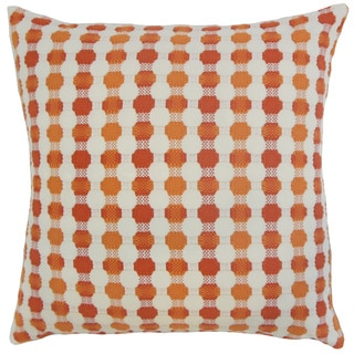 Erela Orange Geometric Down and Feather Filled 18-inch Throw Pillow