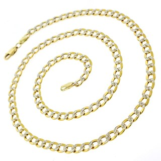 10K Gold 5mm Hollow Two-tone Cuban Curb Diamond-cut Pave 5mm Chain Necklace
