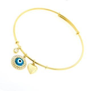 ".925 Sterling Silver Womens CZ Evil Eye Yellow Gold Charm Bangle Bracelet 7.5"" Expandable"