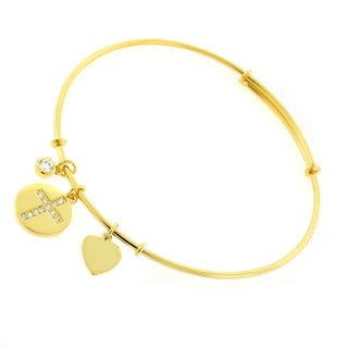 ".925 Sterling Silver Womens Cz Cross Heart Yellow Gold Charm Bangle Bracelet 7.5"" Expandable"