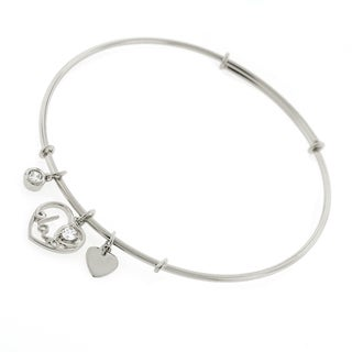 ".925 Sterling Silver Womens CZ Love Heart Charm Bangle Bracelet 7.5"" Expandable"