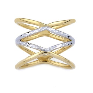 10k Two-tone Gold Double Criss-cross Fashion Ring Size 7