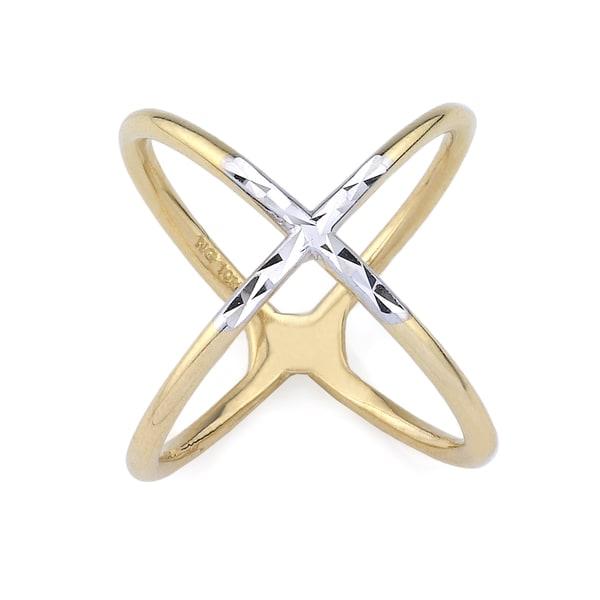 10k Two-Tone Gold Criss-cross Fashion Ring Size 7