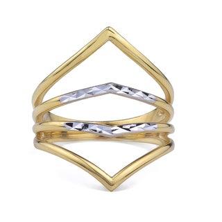 10k Two-Tone Gold Double Chevron Fashion Ring Size 7