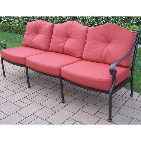 Verona Plush Polyester Cushioned Cast Aluminum Deep Seating Sofa