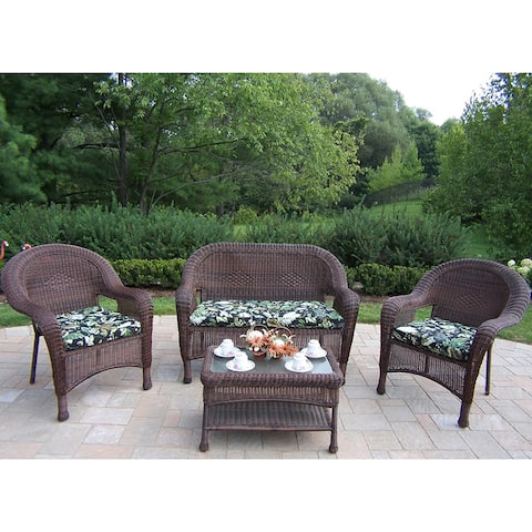 Premium Cushioned Resin Wicker 4-piece Seating Set