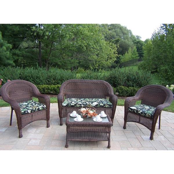 Premium Cushioned Resin Wicker 4-piece Seating Set