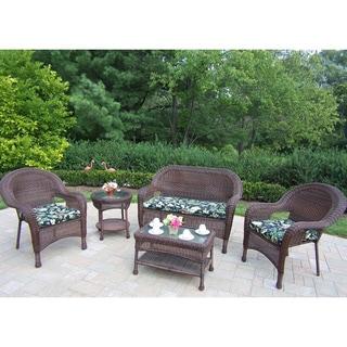 Premium Cushioned Resin Wicker 5-piece Seating Set
