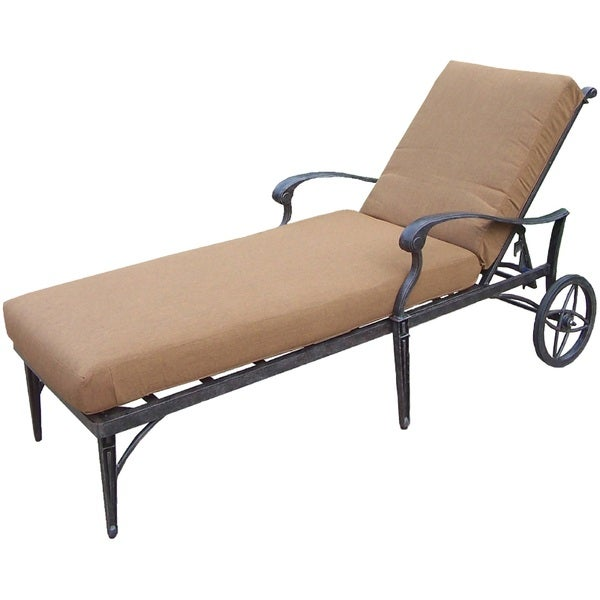 Plymouth Sunbrella Aluminum Chaise Lounge On Wheels Free