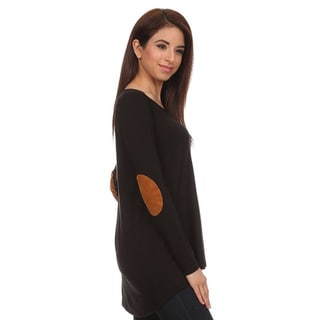 Moa Collection Women's Top with Faux Suede Elbow Patches