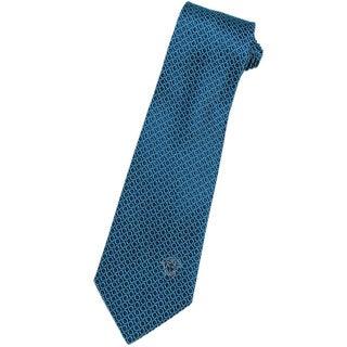 Versace 100-percent Italian Silk Bright Blue Circle Neck Tie