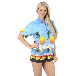 La Leela Women's Bright Blue Aloha Beach Hawaiian Button Down Camp Shirt
