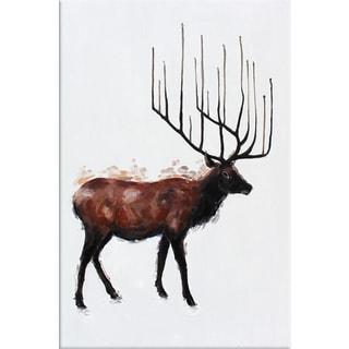 Benjamin Parker 'Elk' 30 x 40-inch Hand-painted Wall Art