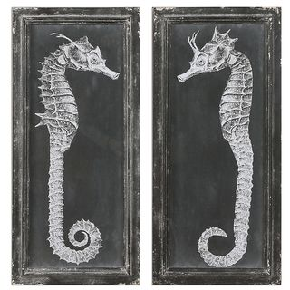 Seahorse Blueprints Art (Set of 2)