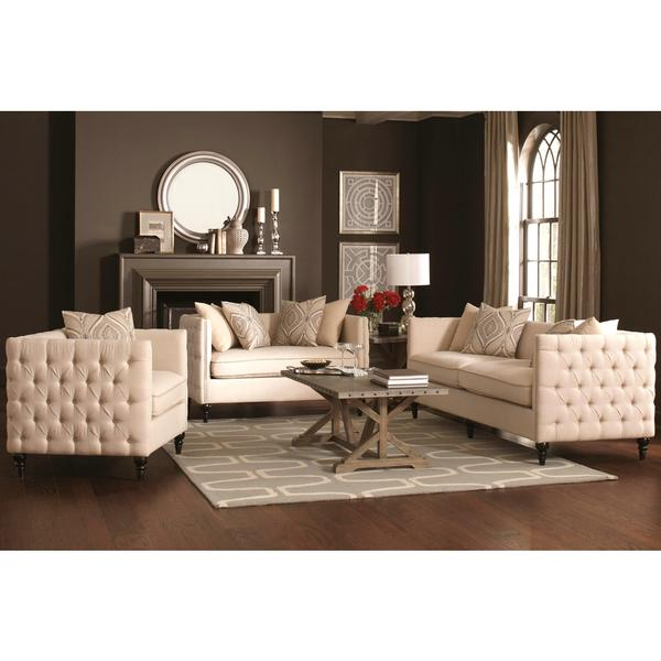 Alexander mid century living room set with tufted design free
