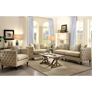 Alexander Mid-Century Living Room Set with Tufted Design