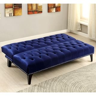 Xnron button tufted royal blue velvet sofa bed lounger for Button tufted velvet chaise settee green