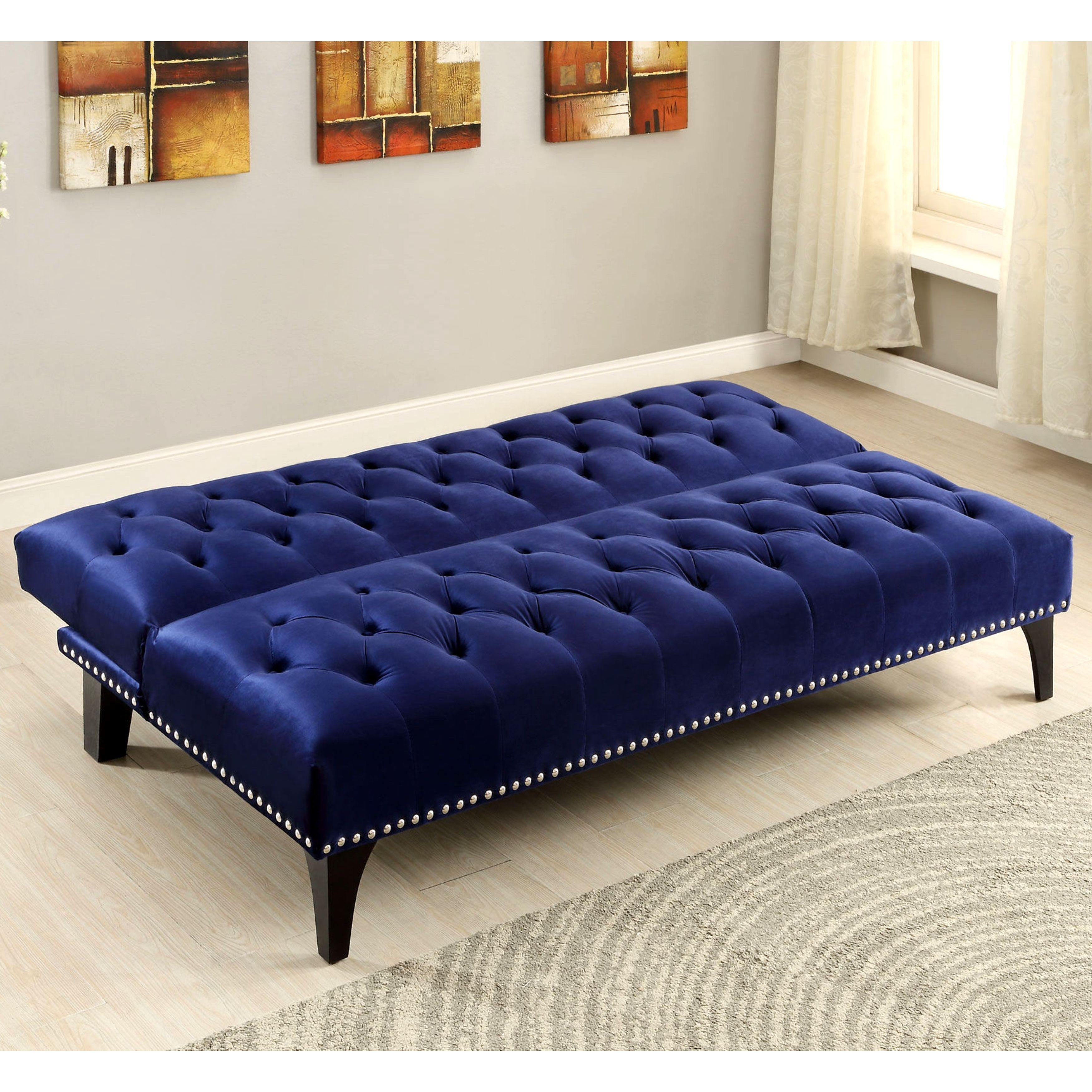 Xnron Button Tufted Royal Blue Velvet Sofa Bed Lounger with Nailhead Trim