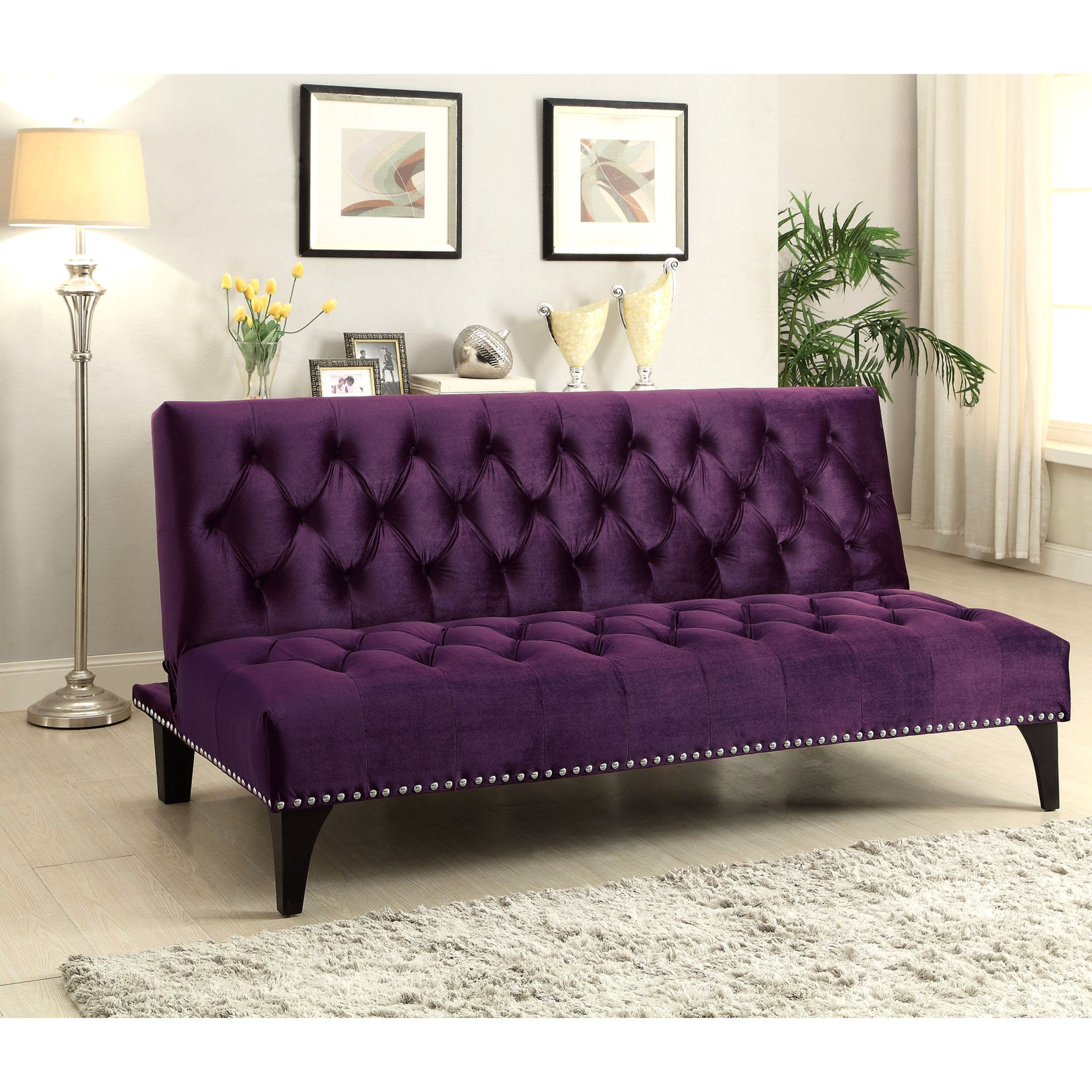 Xnron Button Tufted PurpleVelvet Sofa Bed Lounger with Na...