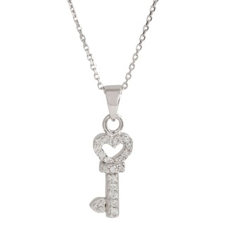 Pori Sterling Silver Cubic Zirconia Heart Key Pendant Necklace