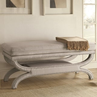Maestoso Elegant Upholstered Accent Bench with Decorative Nailheads