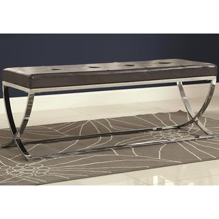 Marquee Contemporary Sleek Design Black Tufted Upholstered Accent Bench