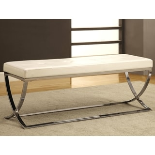 Marquee Contemporary Sleek Design White Tufted Upholstered Accent Bench