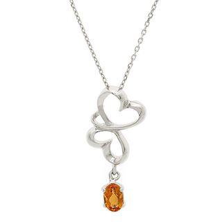 Pori Sterling Silver Citrine Twin Hearts Necklace