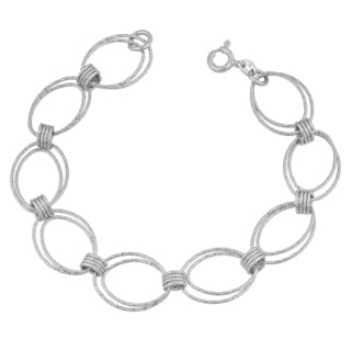 Fremada Sterling Silver Diamond-cut Double Oval Link Bracelet (8.25 inches)