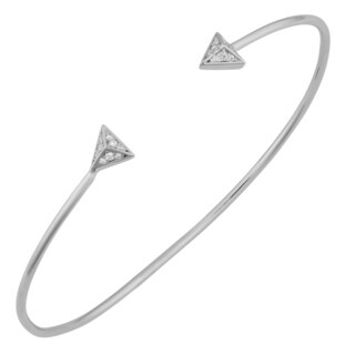 Fremada Rhodium Plated Sterling Silver with Cubic Zirconia Triangle Tip Bangle