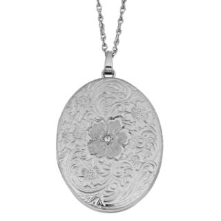 Fremada Rhodium Plated Sterling Silver with Diamond Accent Floral Oval Locket Necklace (18 inches)