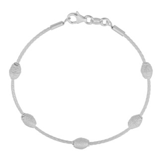 Argento Italia Sterling Silver Beehive-style Station on Wheat Chain Bracelet (7.5 inches)