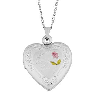 "Fremada Rhodium Plated Sterling SIlver ""I Love You"" with Rose Heart Locket Necklace (18 inches)"