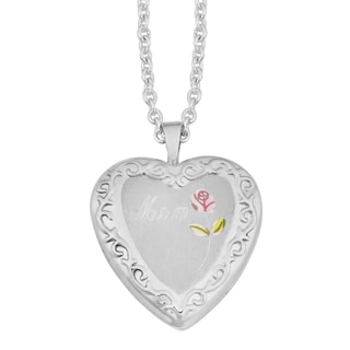 "Fremada Rhodium Plated Sterling SIlver ""Mom"" with Colored Rose Heart Locket Necklace (18 inches)"