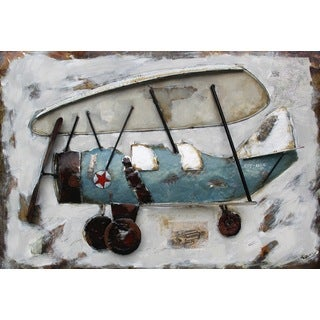 Benjamin Parker 'Prop Plane' 32 x 48-inch Raised Metal Wall Art