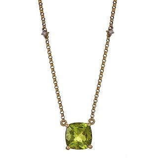 Anika and August 14k Yellow Gold Cushion-Cut Peridot and Diamond Accent Necklace